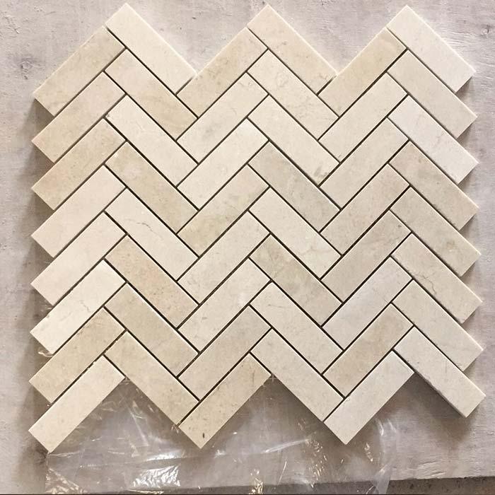 Herringbone 1x3 Mosaic Crema Marfil
