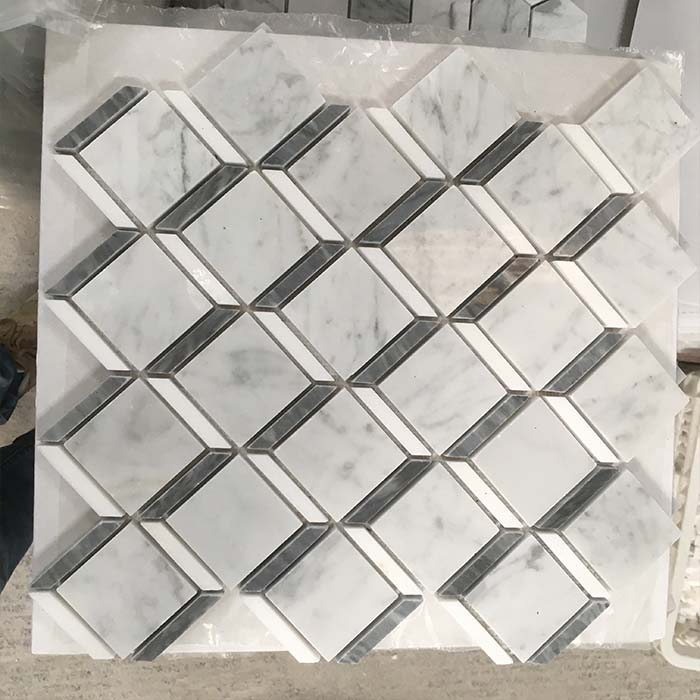 Square with Gray Strip Mosaic Bianco Carrara