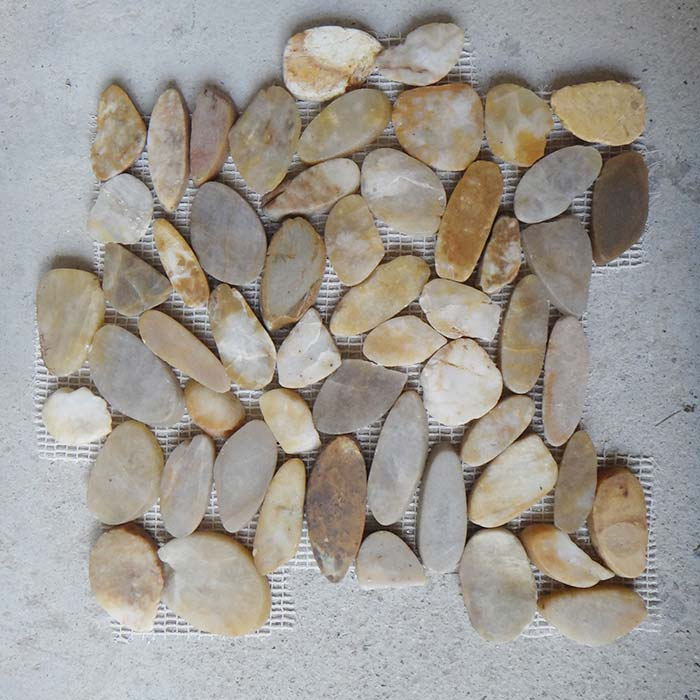 Yellow Sliced Polished Pebble Mosaic in 12x12 Mesh