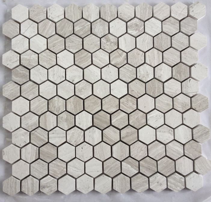 Hexagon 1 Mosaic White Woodvein Marble