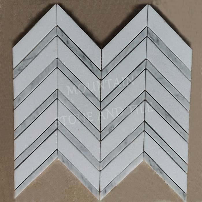 Chevron 1x4 mosaic Thassos White with Bianco Carrara